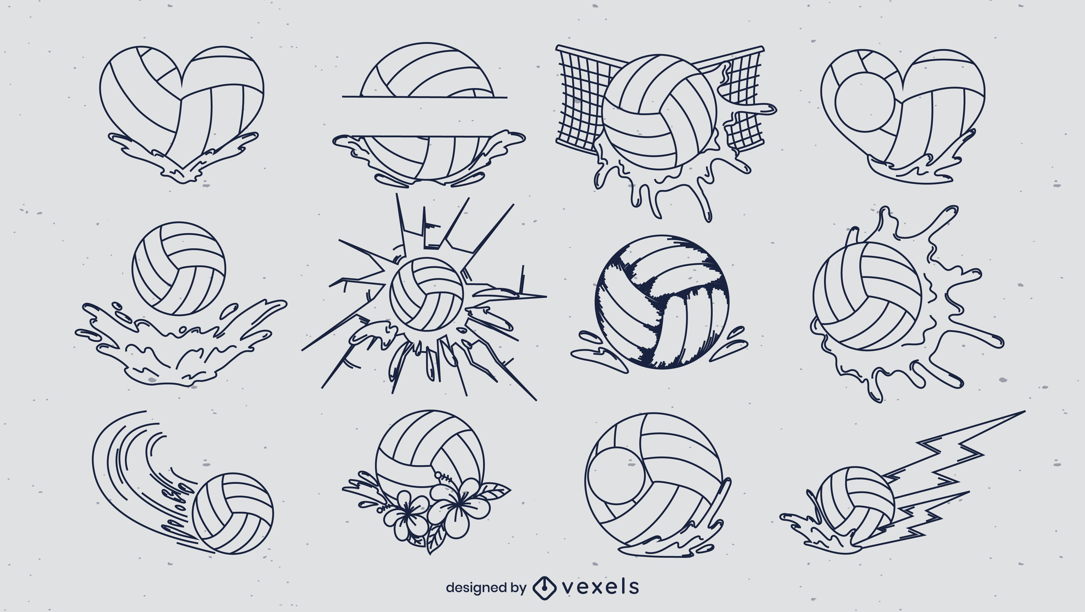 Water polo ball line art elements set