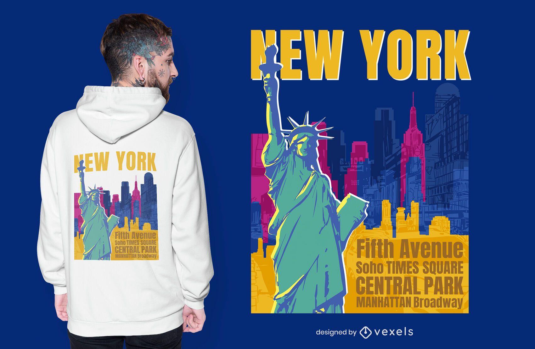 Diseño de camiseta de la estatua de la libertad de la ciudad de nueva york