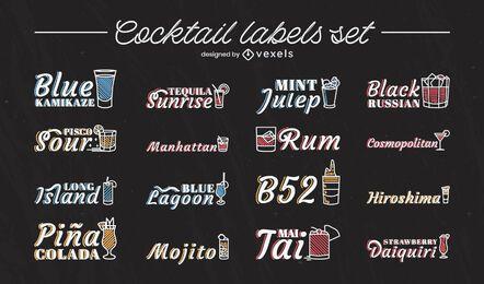 Conjunto de etiquetas de trazo de nombres de bebidas de cóctel
