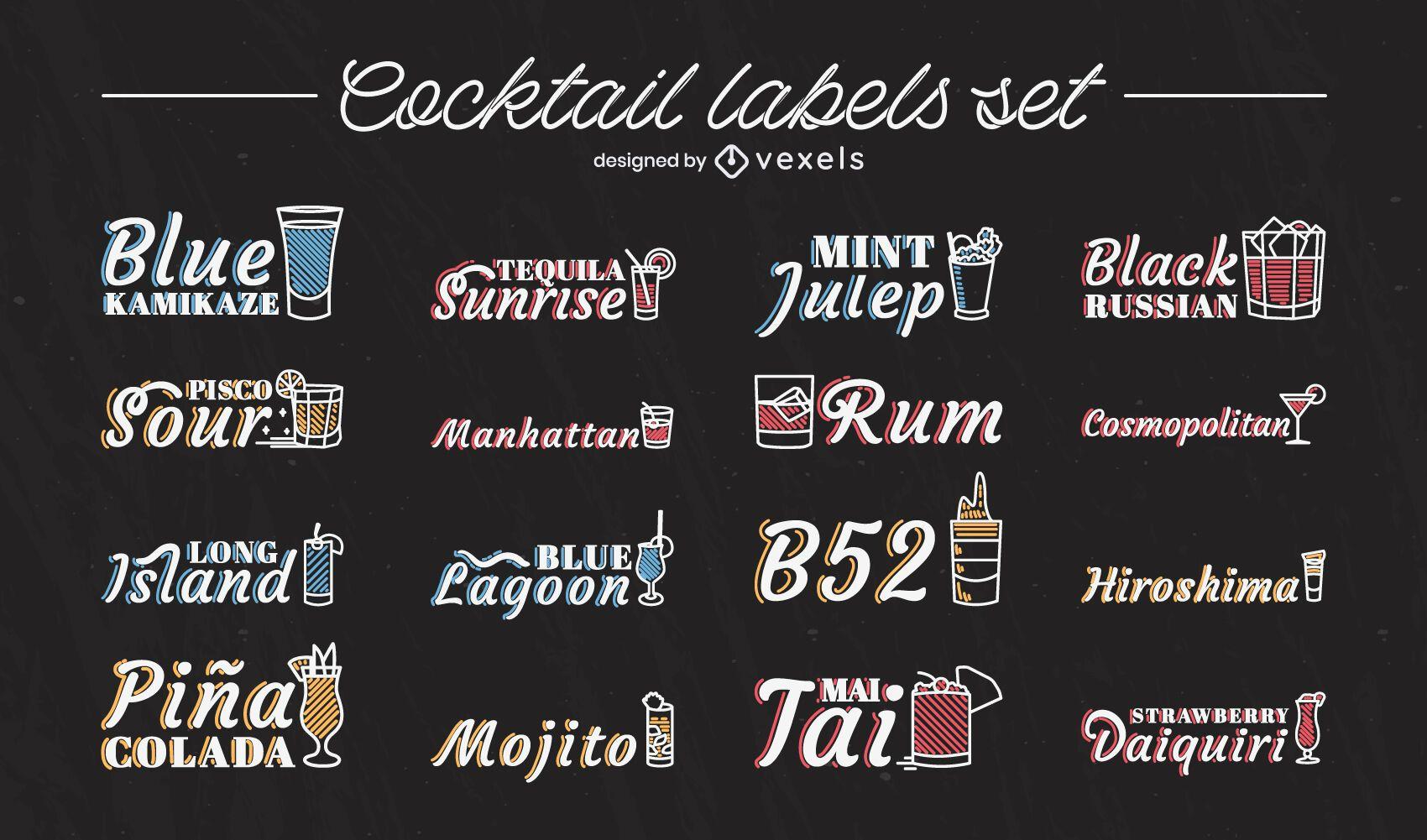Cocktail drinks names stroke label set