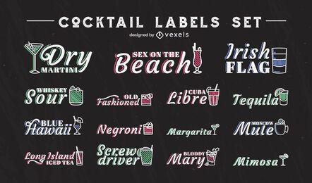 Cocktail alkoholische Getränke Strichset