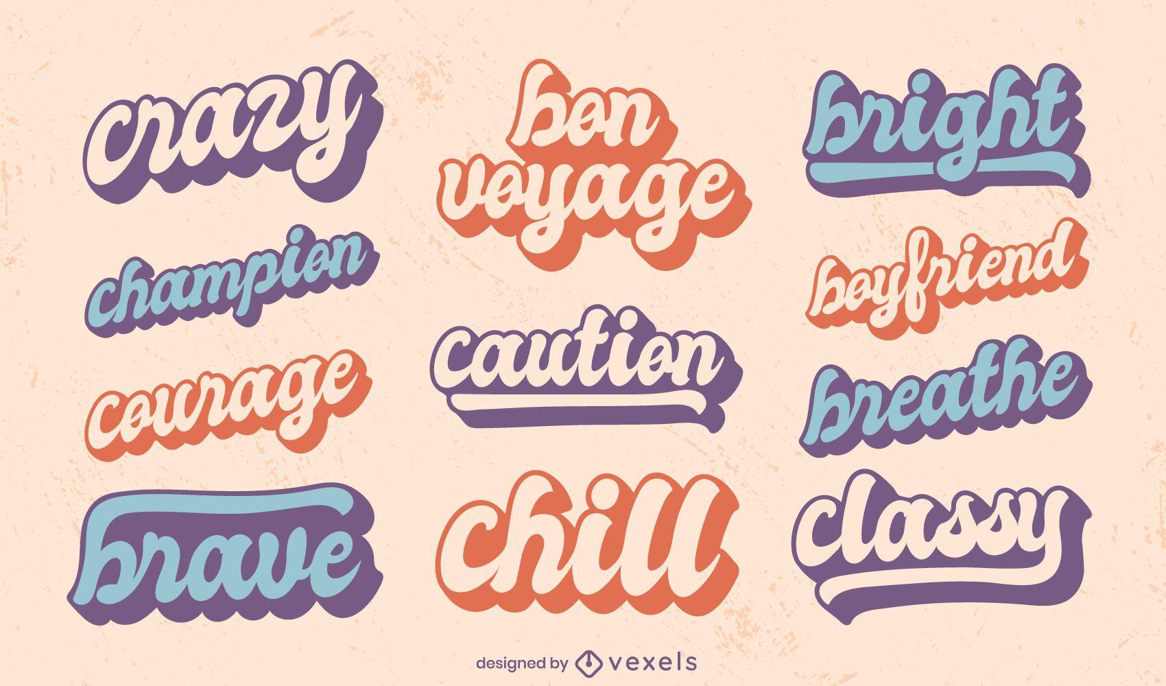 Motivational quotes retro lettering set