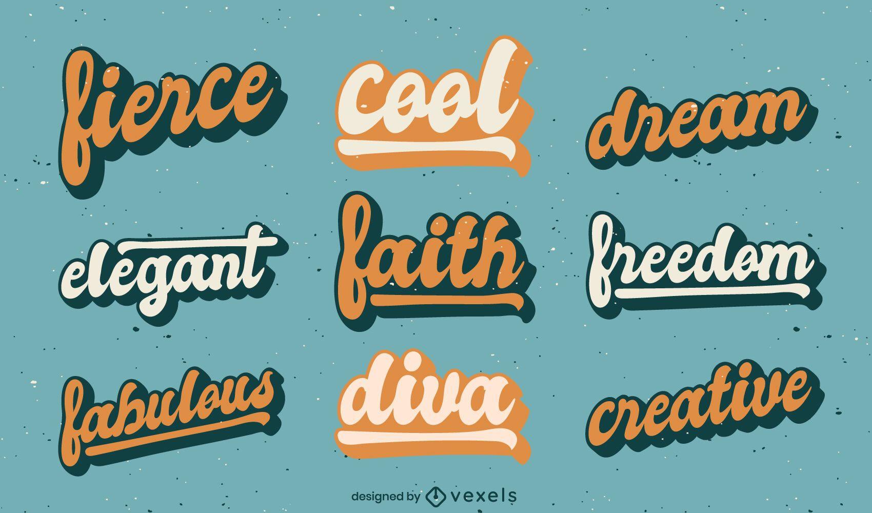 Conjunto de letras de estilo retro de citações motivacionais