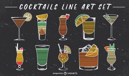 Cóctel elegante conjunto de arte de línea de bebidas.