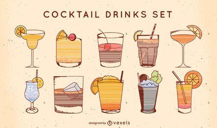 Ausgefallenes alkoholisches Cocktail-Getränke-Linien-Set