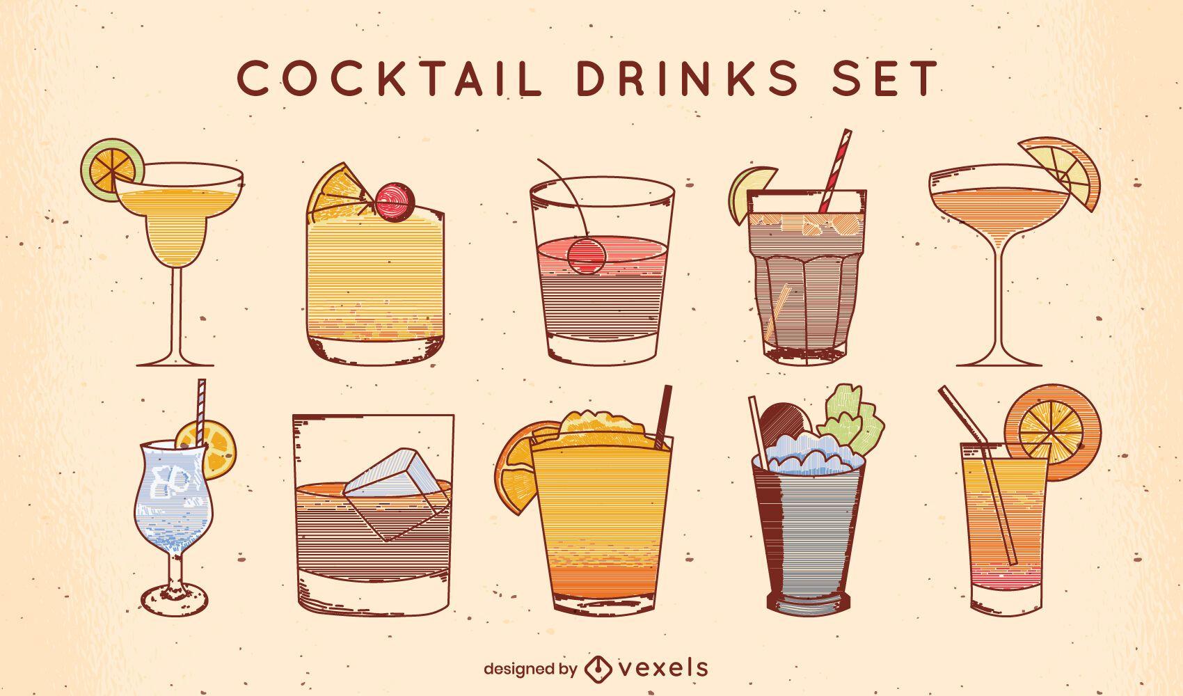 Fancy cocktail alcoholic drinks line art set