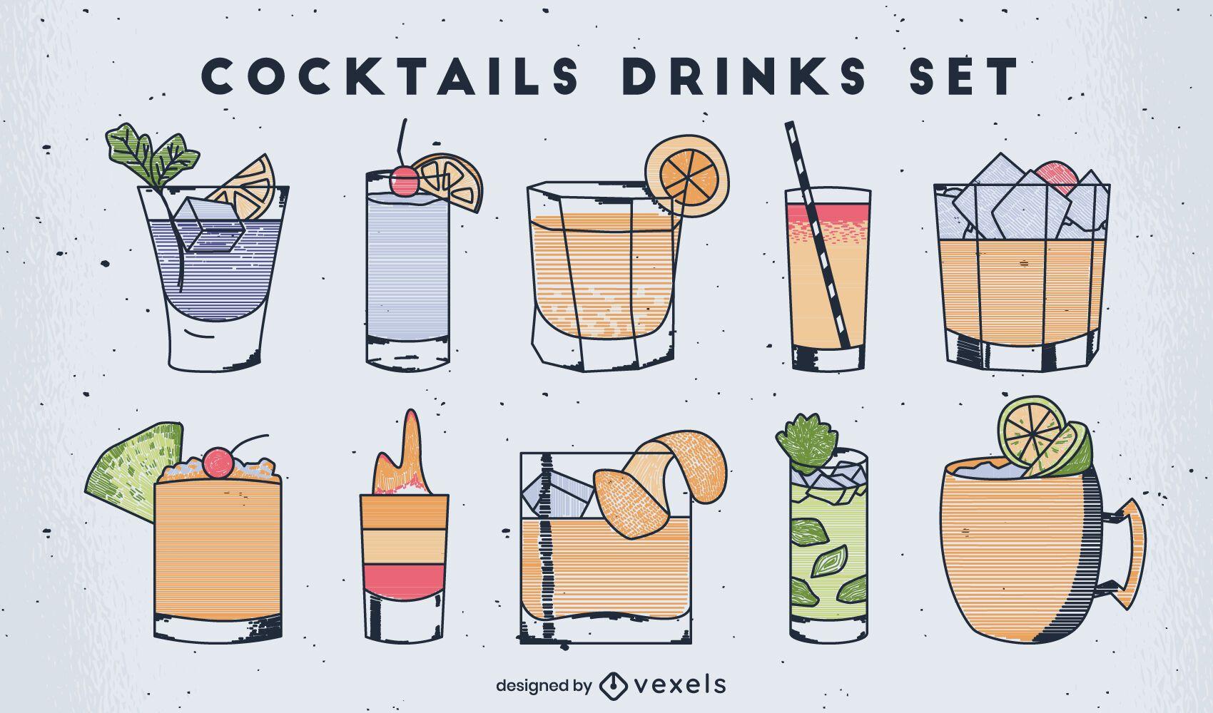 Cocktail drinks colorful line art set