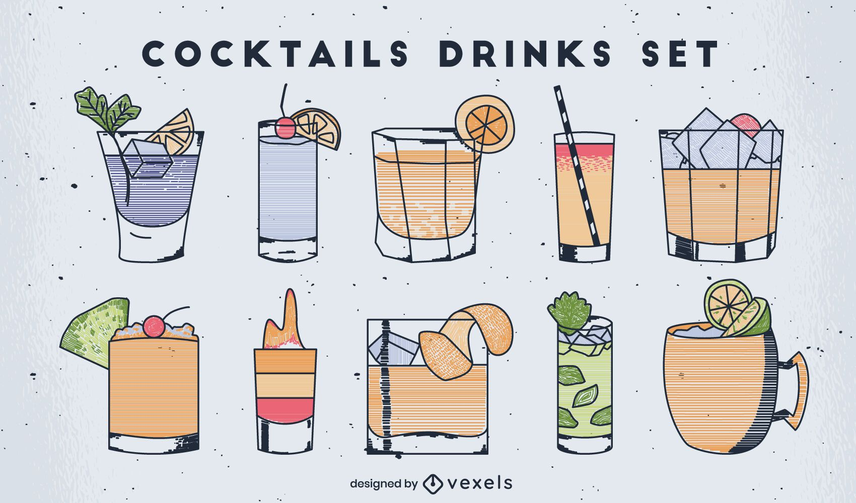 Conjunto de arte de línea colorida de bebidas de cóctel