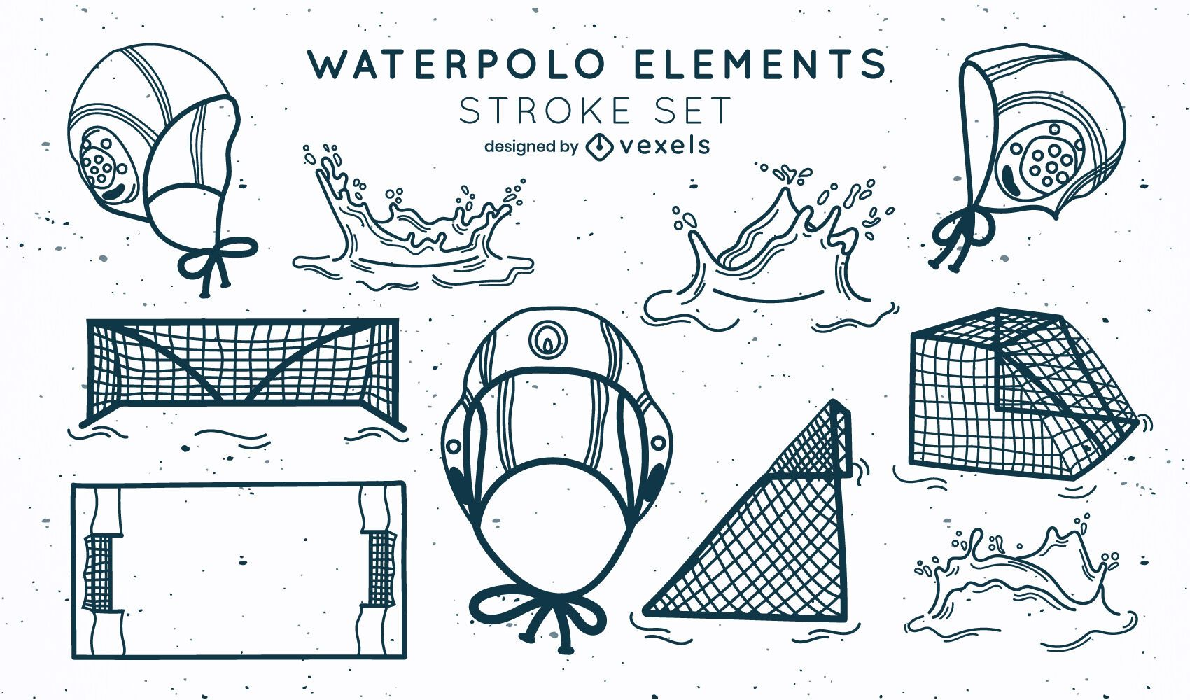Conjunto de trazos de equipamiento deportivo waterpolo.