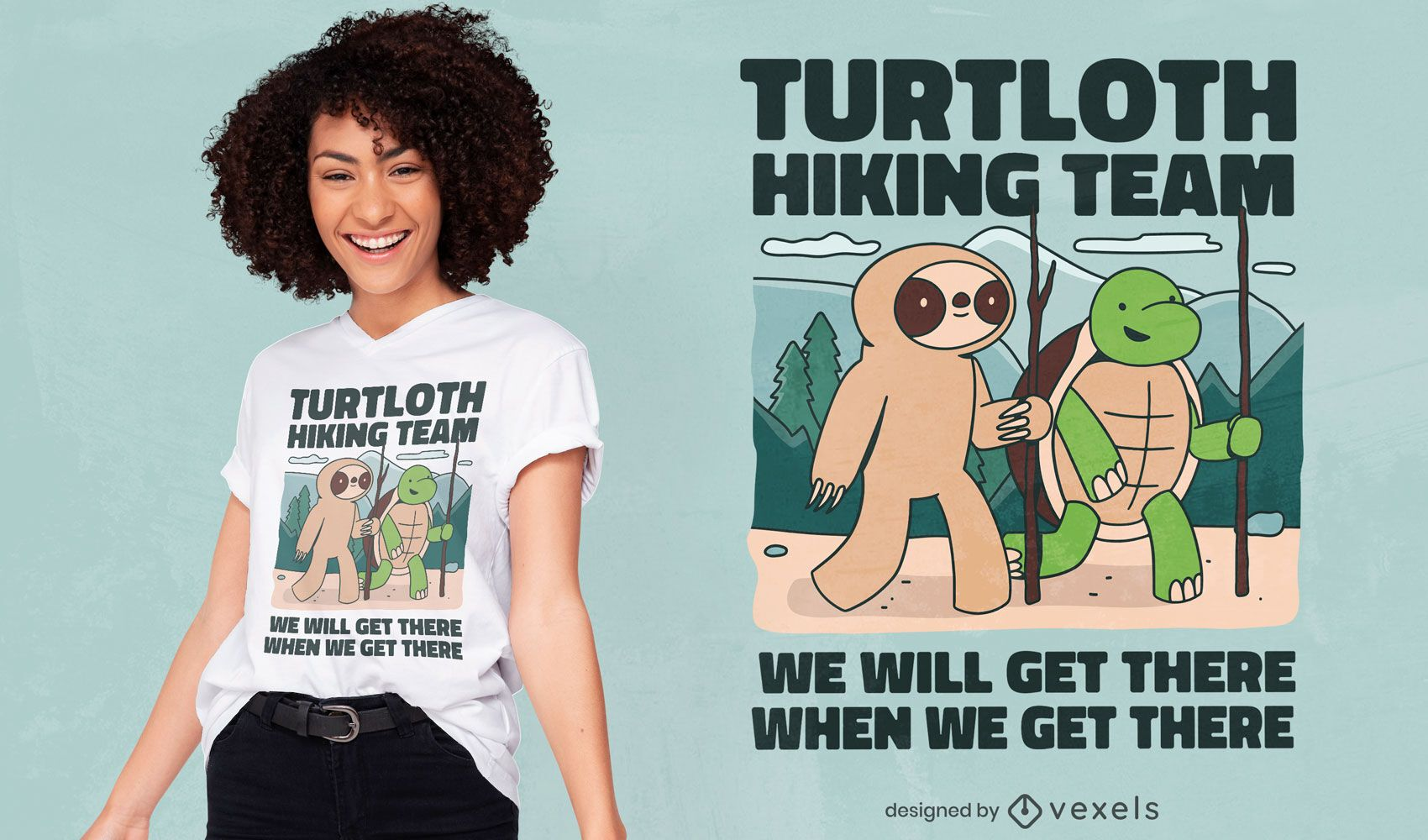 Turtle and sloth hiking t-shirt design