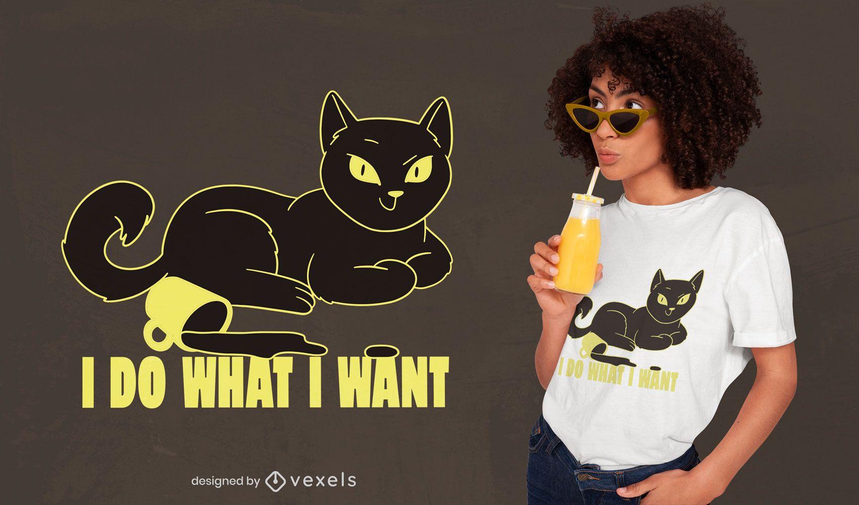Design de t-shirt de copo de café animal gato rebelde