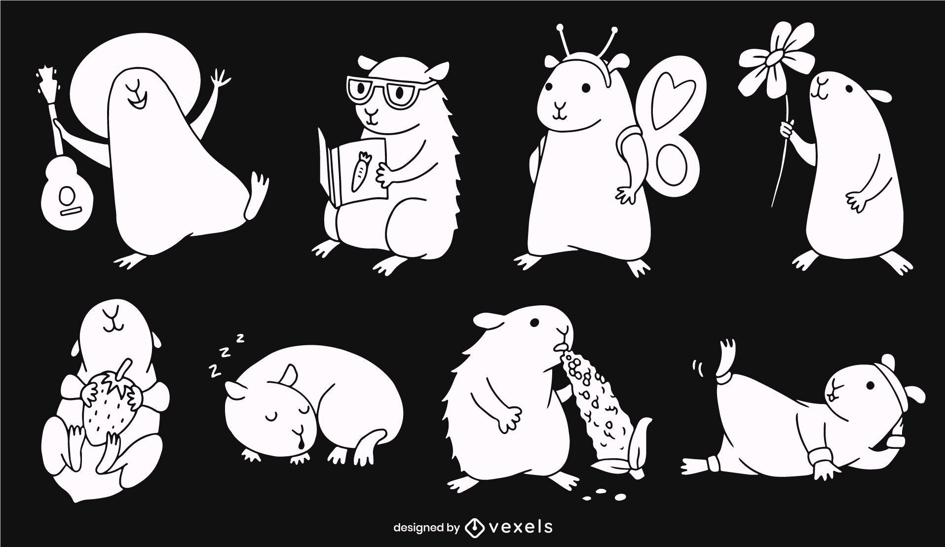 Conjunto de animal lindo roedor conejillos de indias