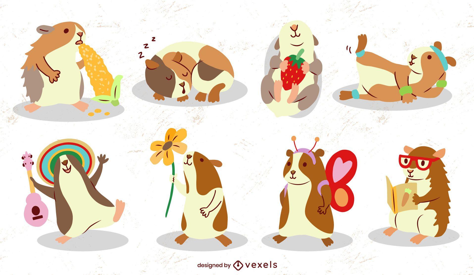 Felices conejillos de indias roedor lindo conjunto de animales