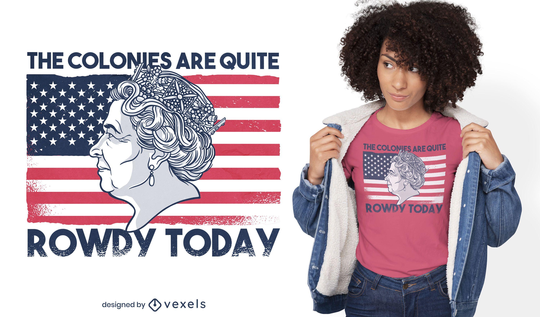 Königin von England auf T-Shirt-Design mit amerikanischer Flagge