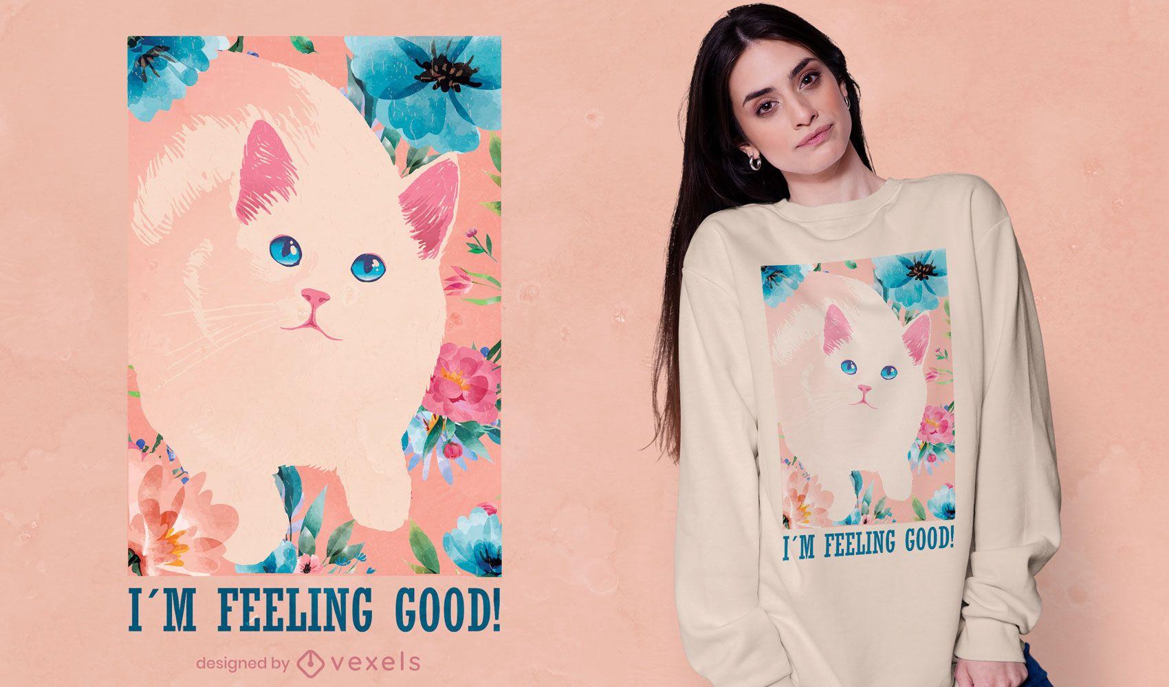 Design de t-shirt vintage com flor de gato fofo