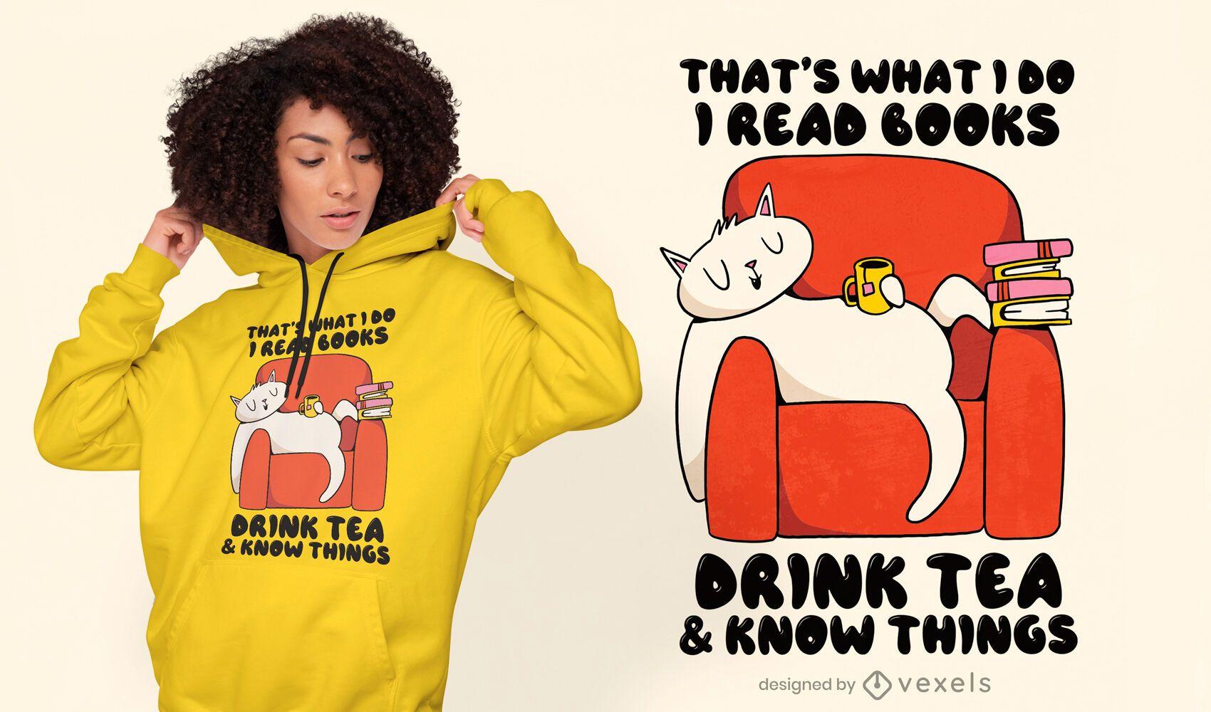 Diseño de camiseta de dibujos animados de libros de lectura de gato