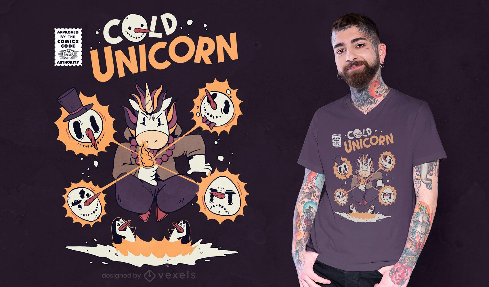 Einhorn Schneemänner magisches T-Shirt Design