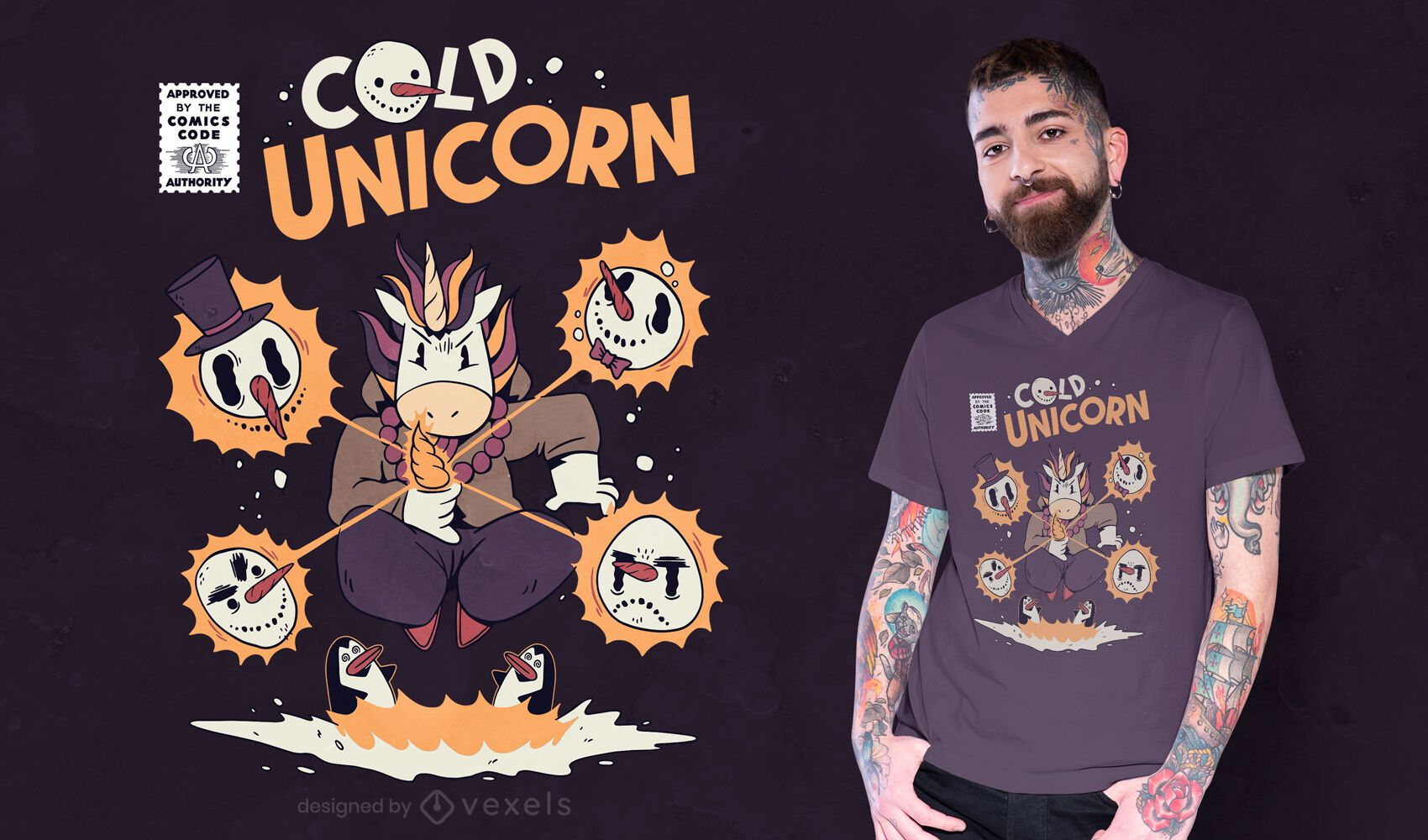 Unicorn snowmen magic t-shirt design