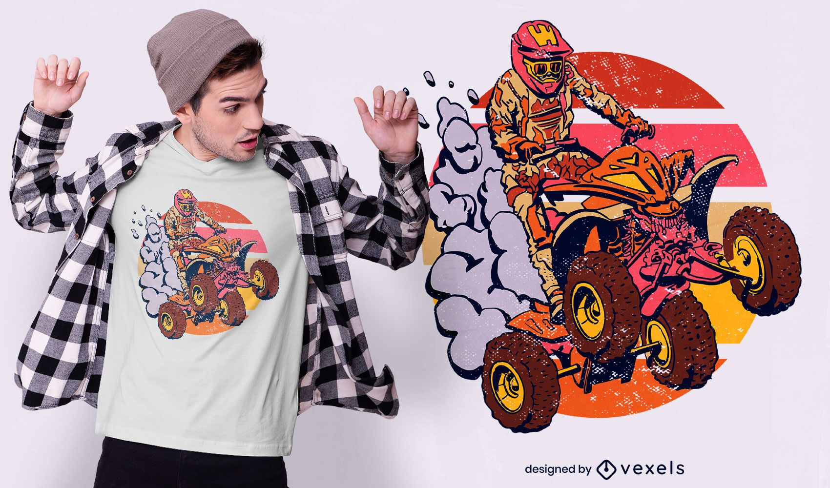 Quad-Fahrer Retro-Sonnenuntergang-T-Shirt-Design