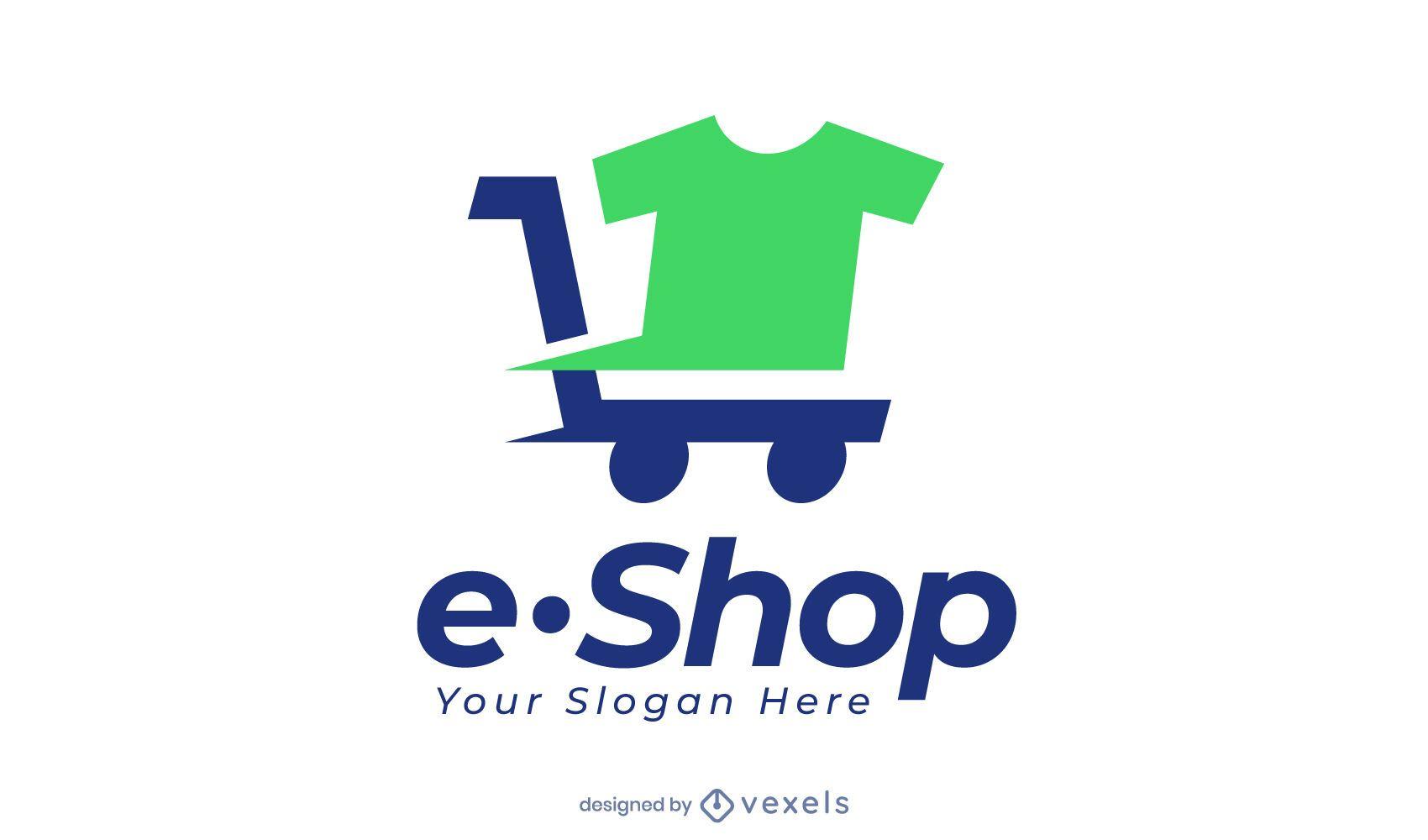 Camiseta de comercio electrónico en diseño de logotipo de carrito.