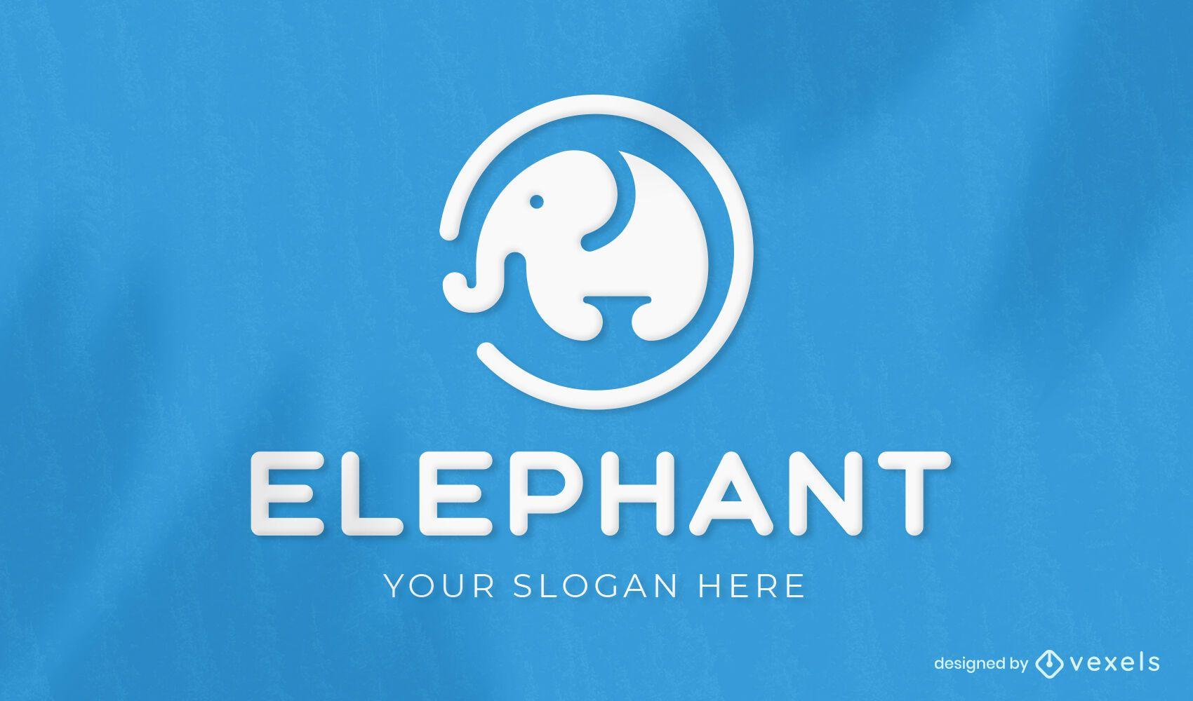 Diseño de logotipo recortado animal elefante