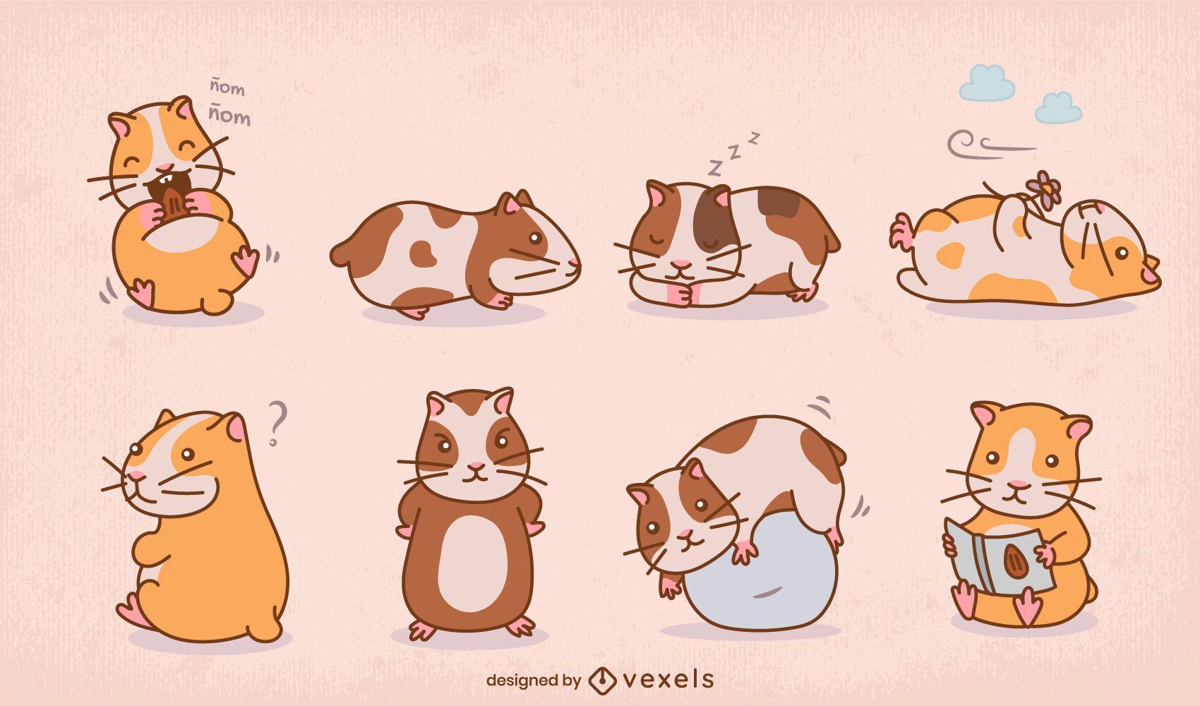 Cute guinea pigs color stroke set