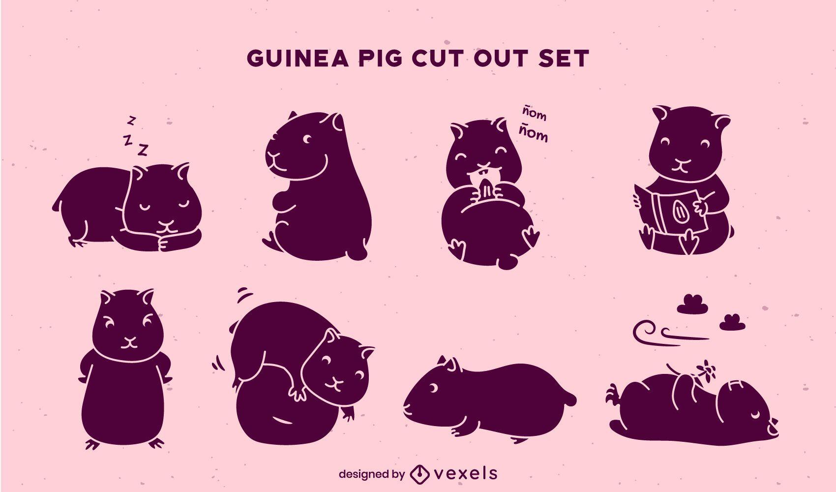 Cut out cute guinea pigs set