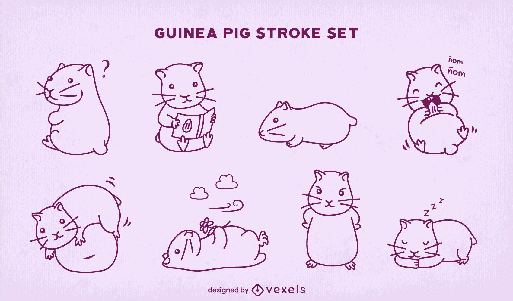Cute guinea pigs stroke set