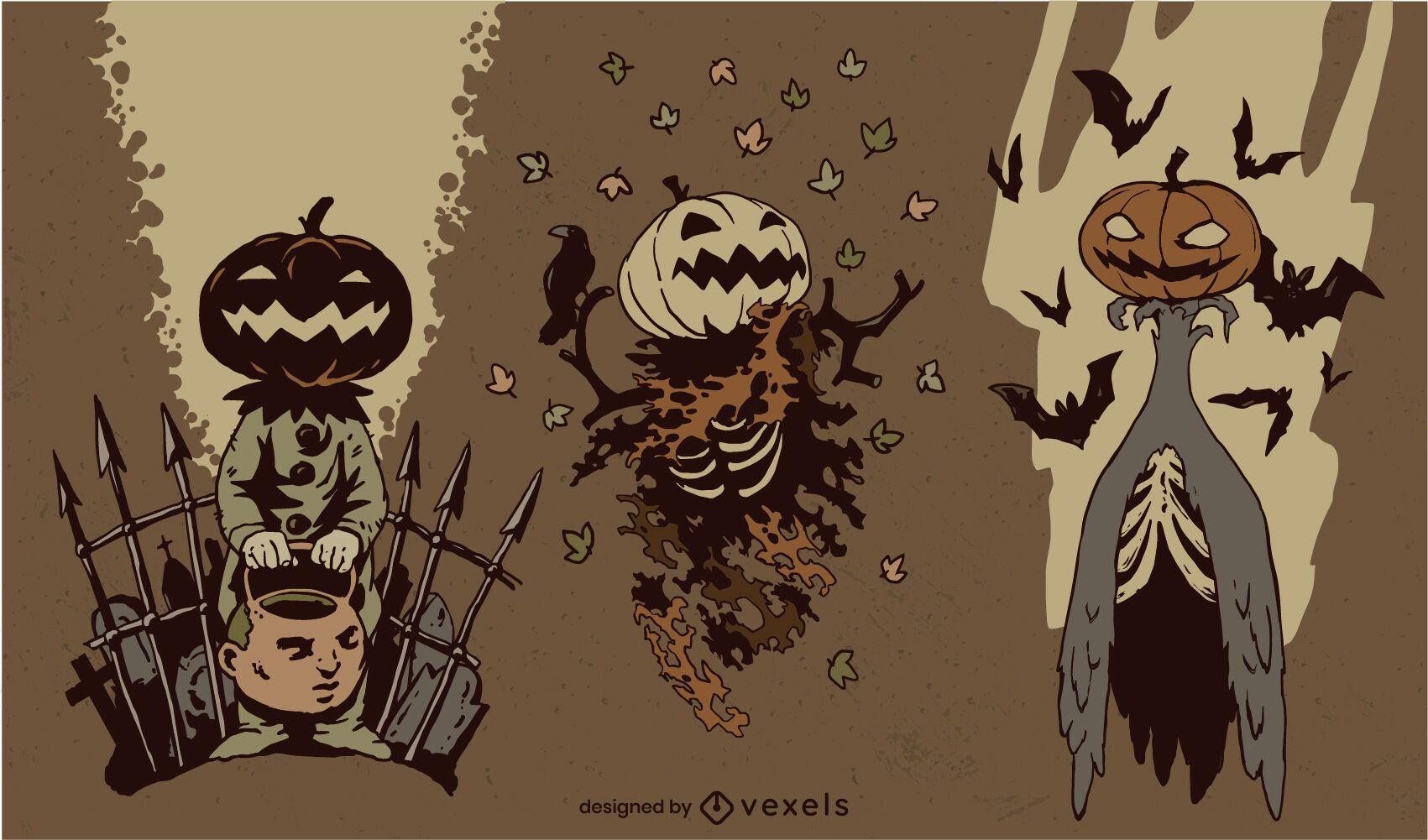 Halloween pumpkin creature character set