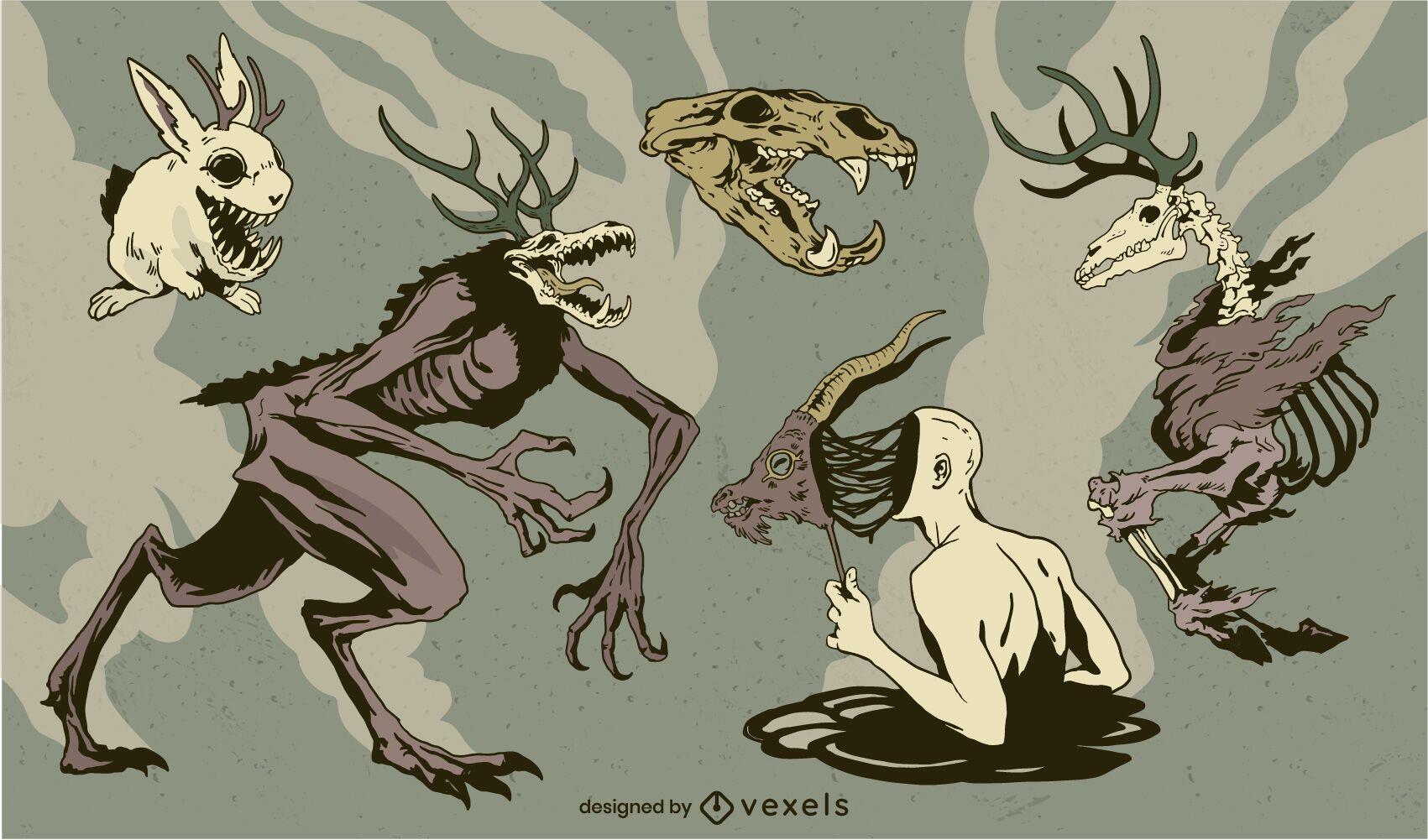 Conjunto de personagens de monstros de feriado de Halloween