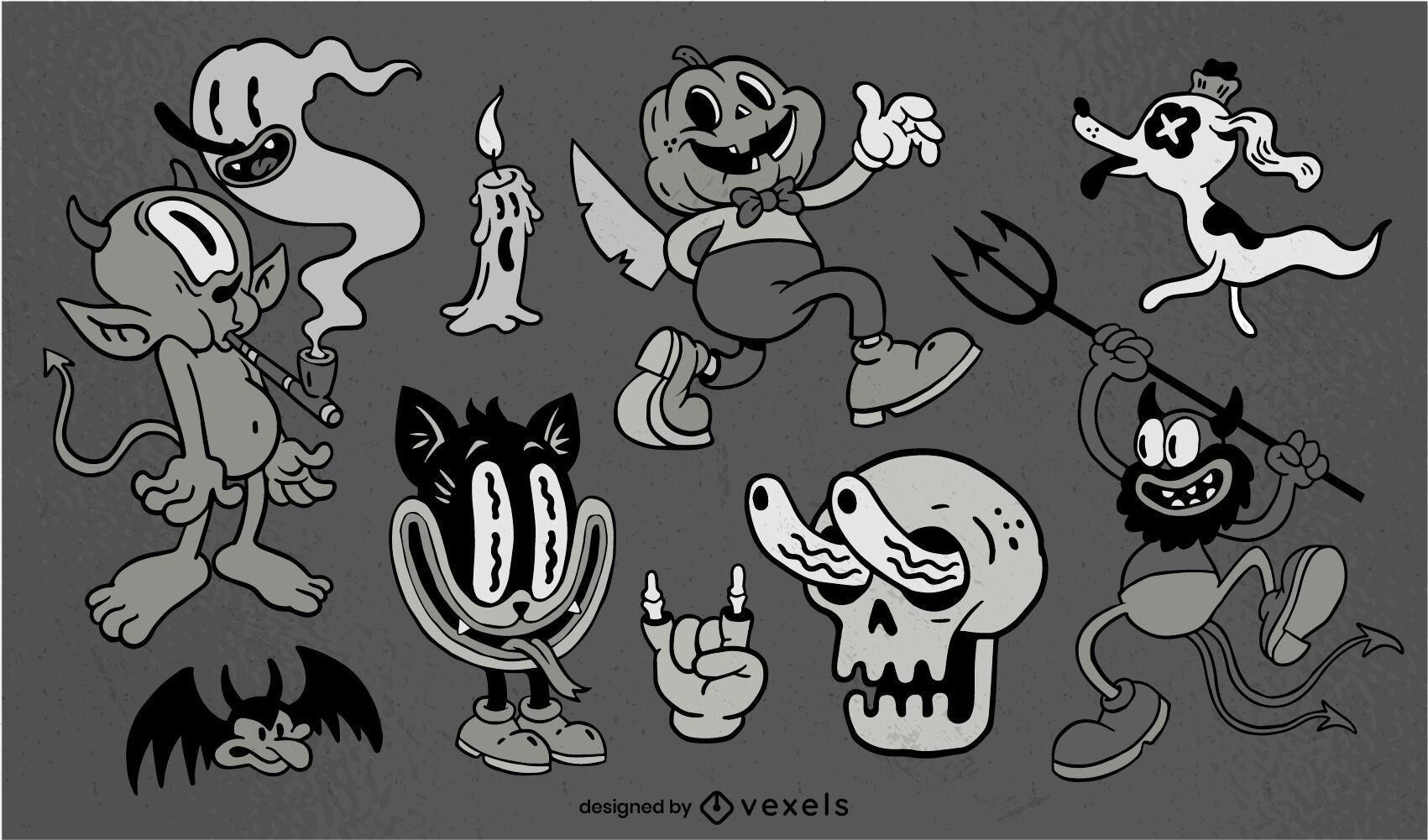 Conjunto de caracteres de halloween retr?