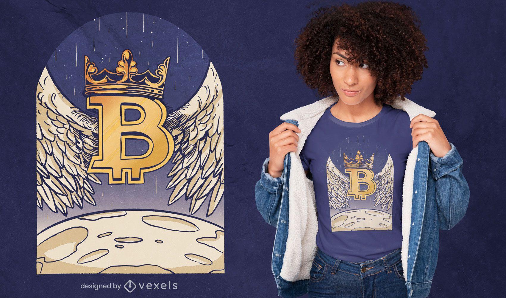 Angel bitcoin aterrizando en el diseño de la camiseta de la luna.