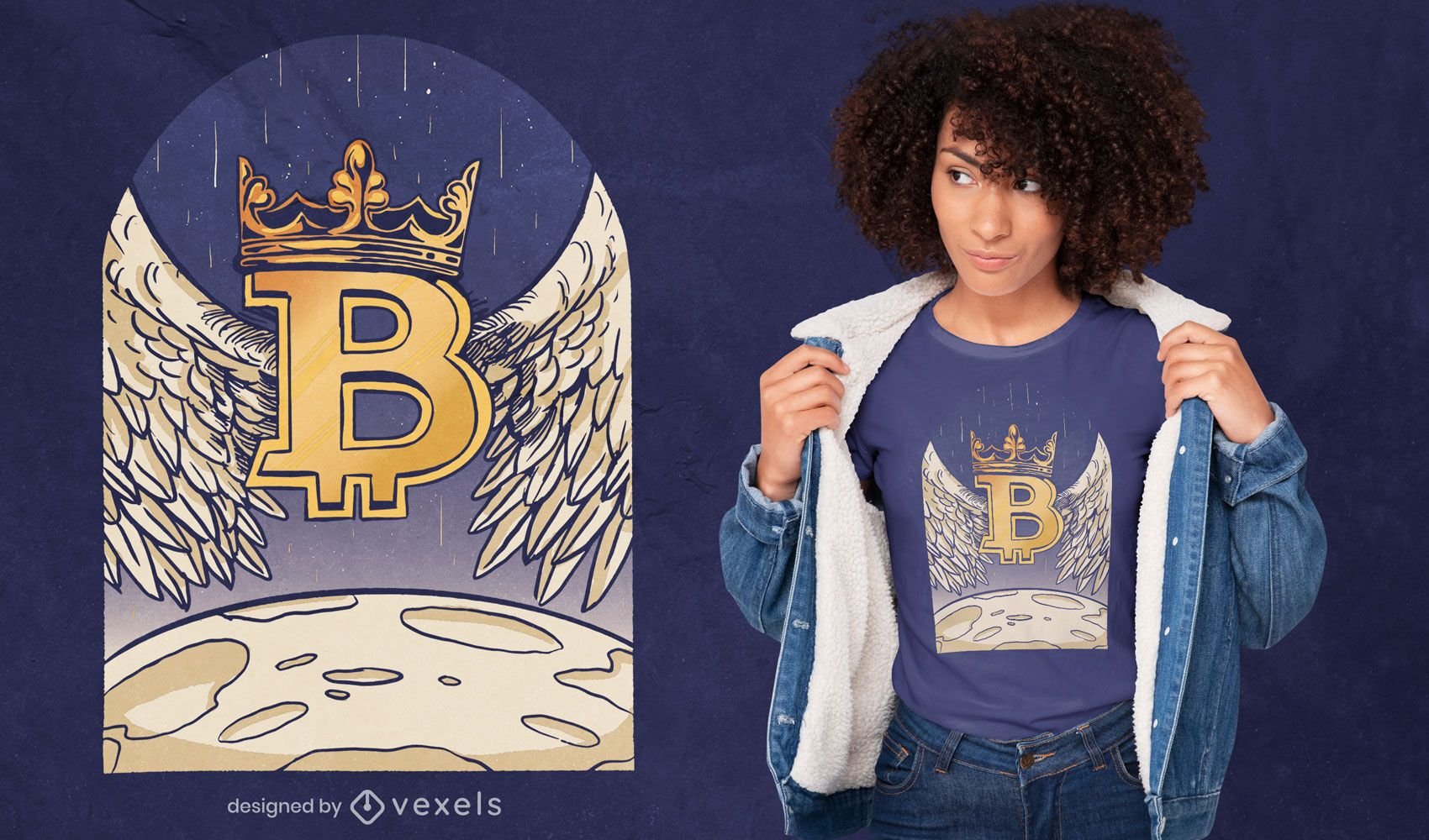 Angel bitcoin landing on the moon t-shirt design