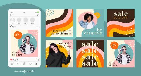 Paquete de publicaciones de redes sociales de colores de arco iris