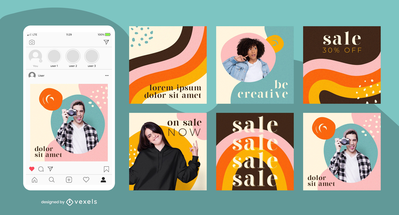 Pacote de postagem de mídias sociais coloridas do arco-íris