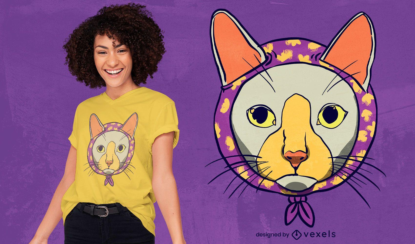 Animal gato con dise?o de camiseta de bufanda.
