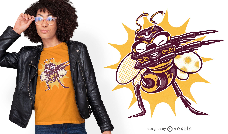 Design engraçado de t-shirt com insetos de abelha