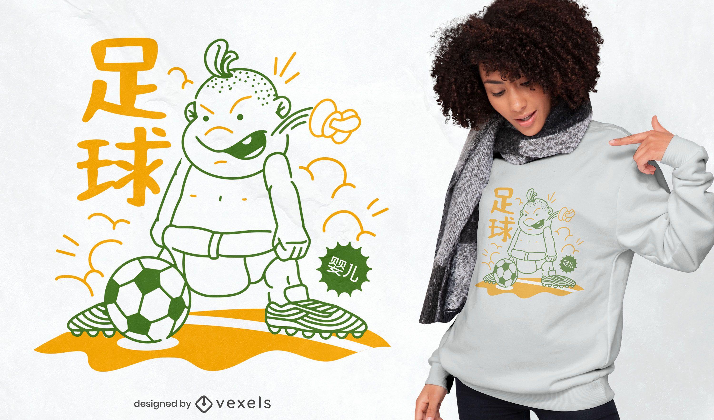 Diseño de camiseta de bebé jugando al fútbol.
