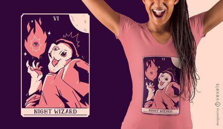 Owl wizard tarot card t-shirt design