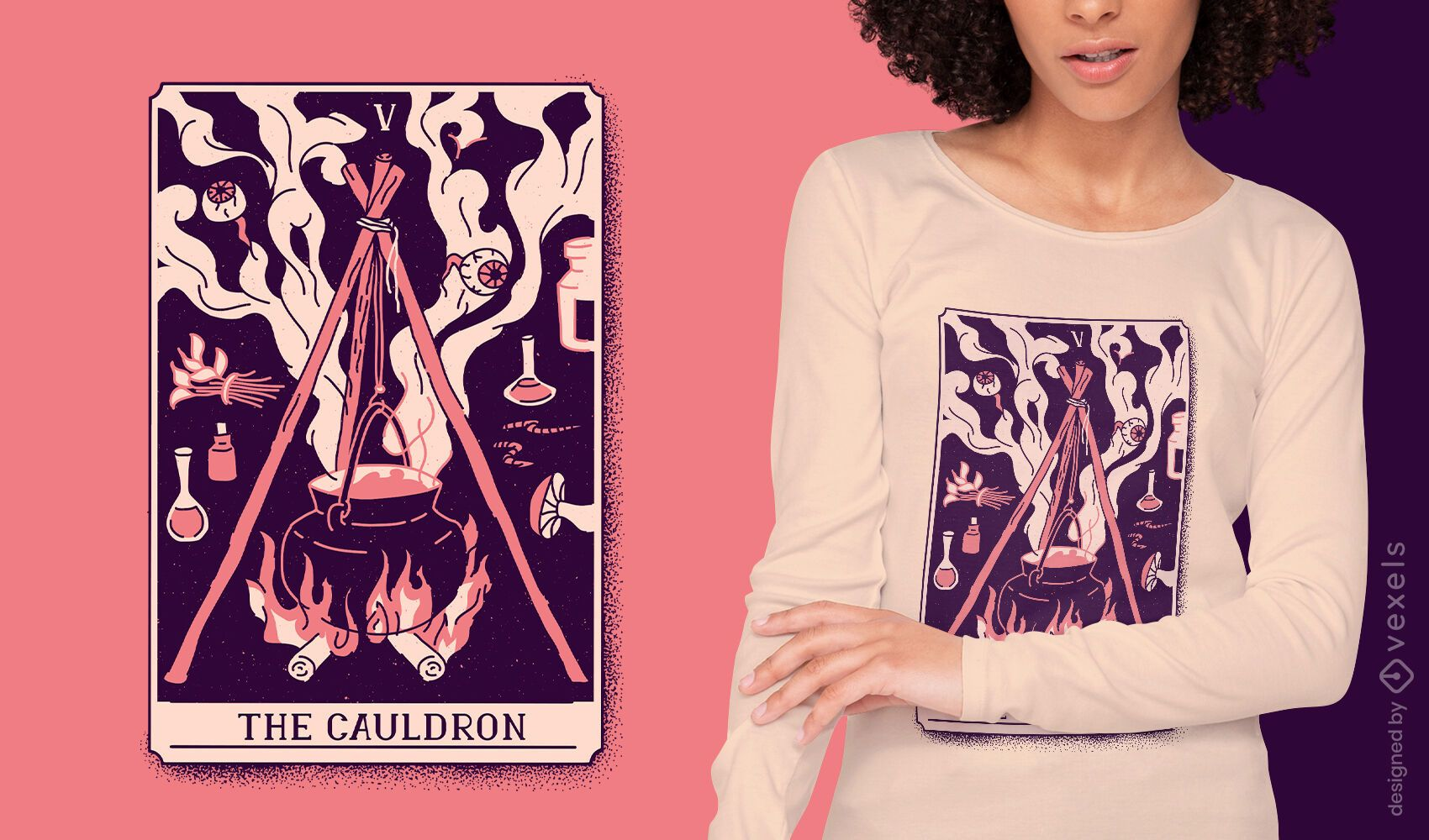 Diseño de camiseta de carta de tarot mística de caldero