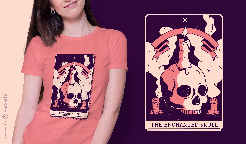 Diseño de camiseta de carta de tarot de calavera encantada