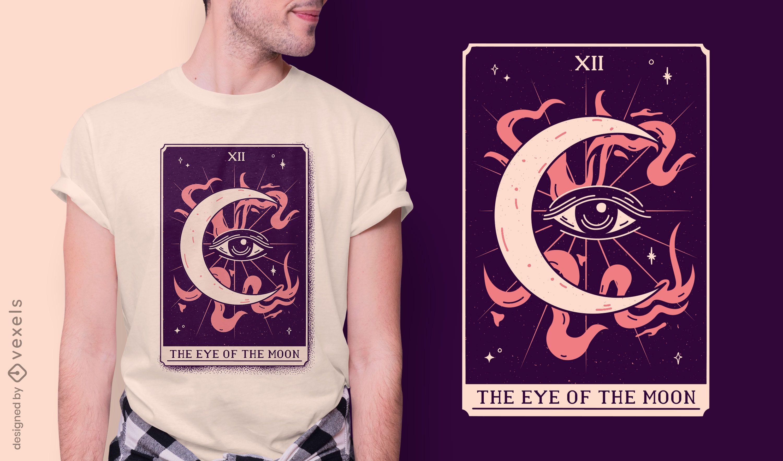 Diseño de camiseta de la carta del tarot del ojo de la luna.