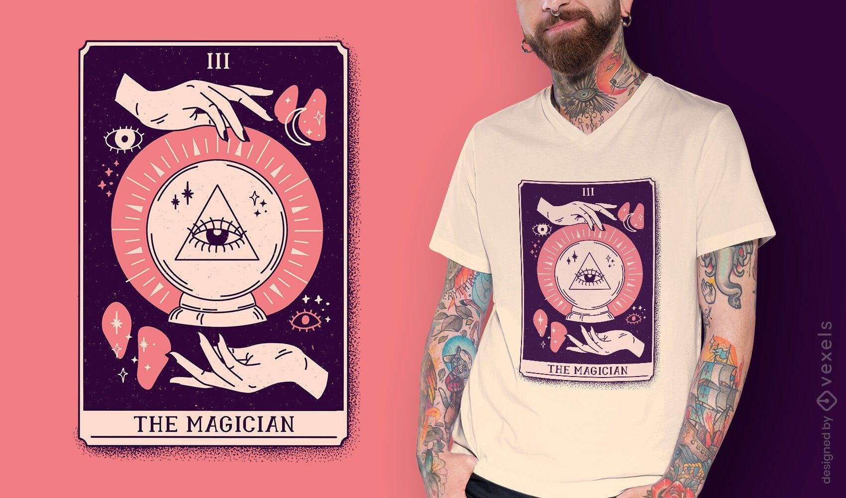 Diseño de camiseta de cartas de tarot mago.