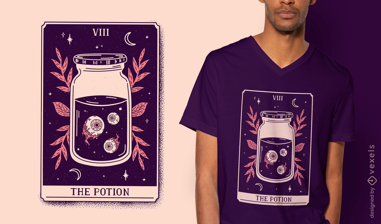 Diseño de camiseta de carta de tarot de poción.