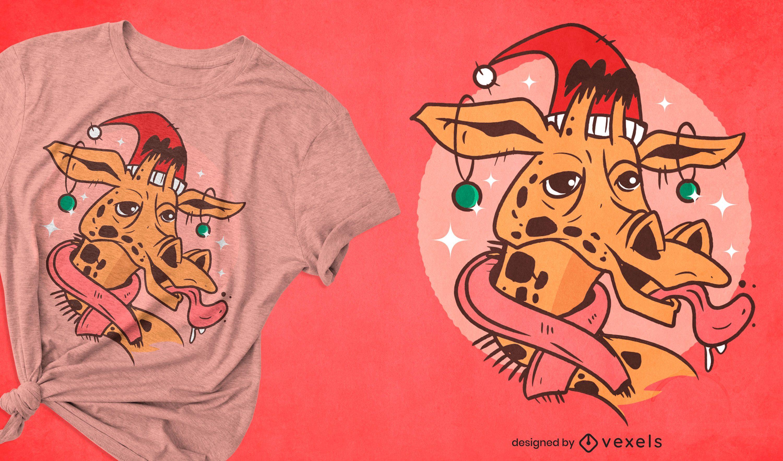 Diseño de camiseta de animal jirafa navideña.