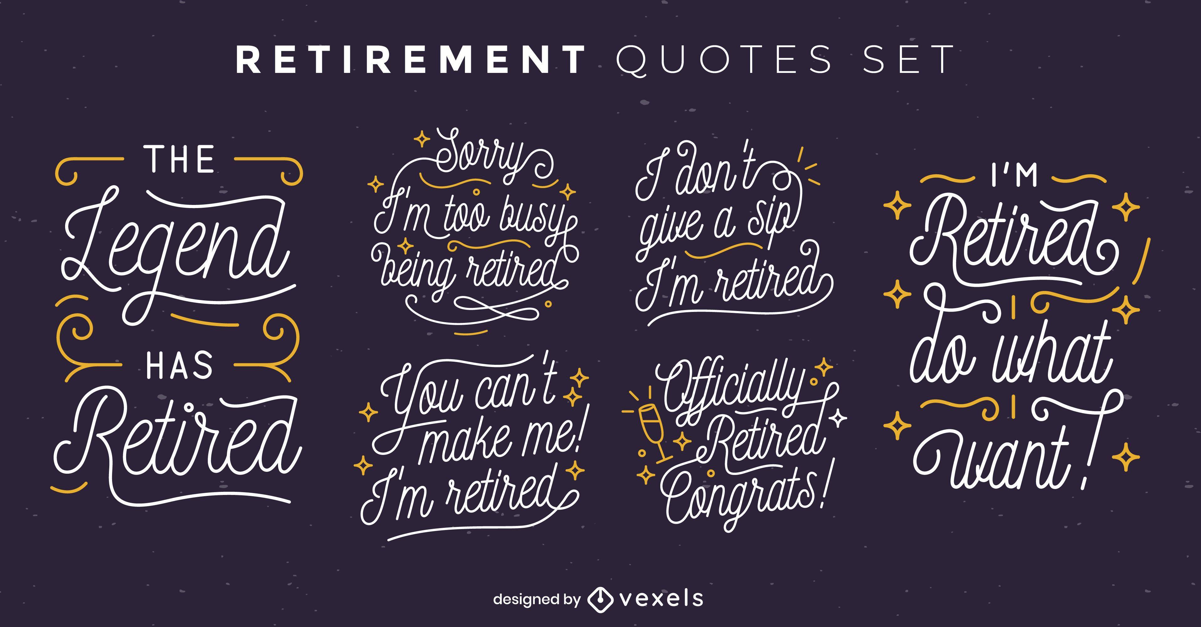 Funny retirement quote badge set