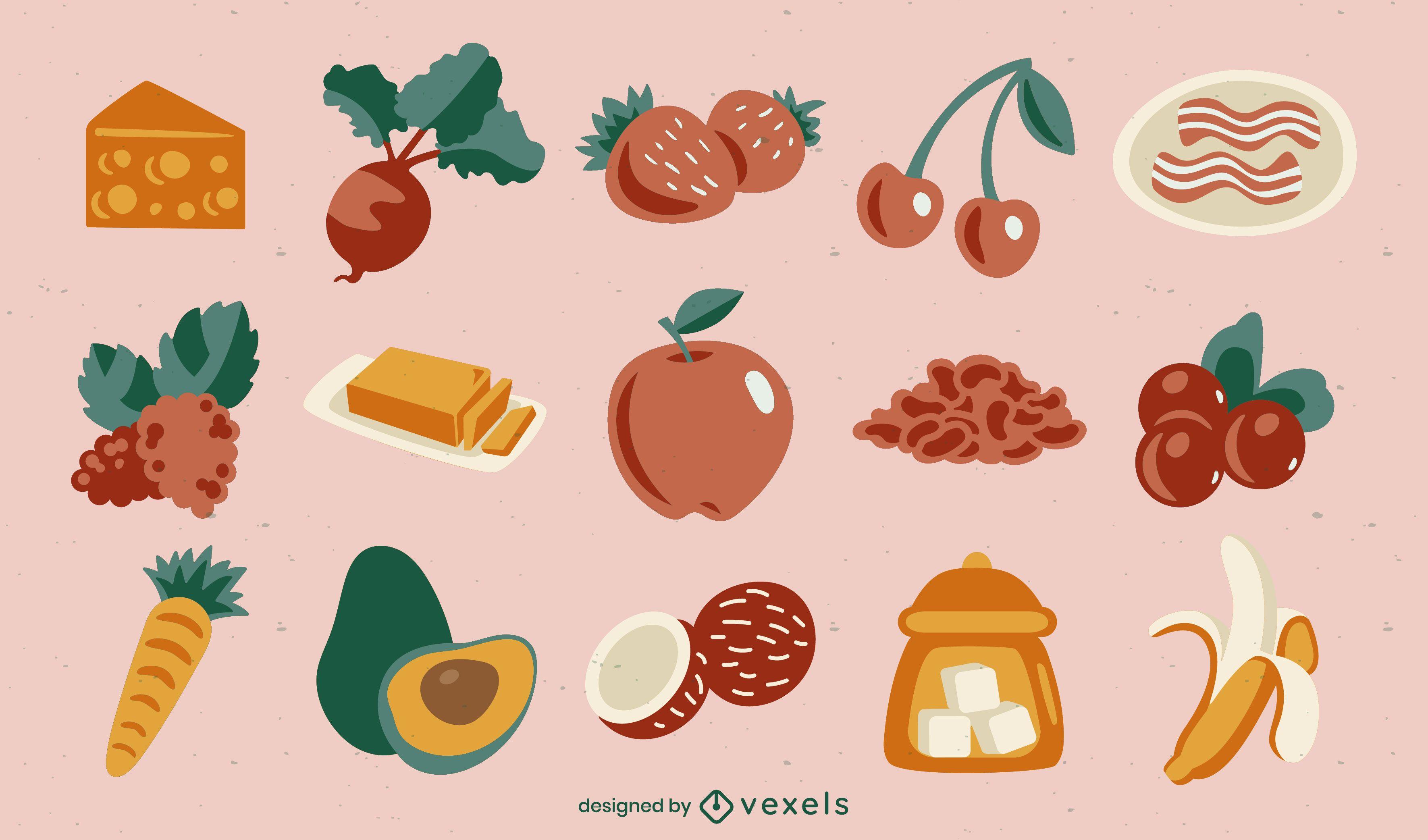 Food ingredients semi flat set