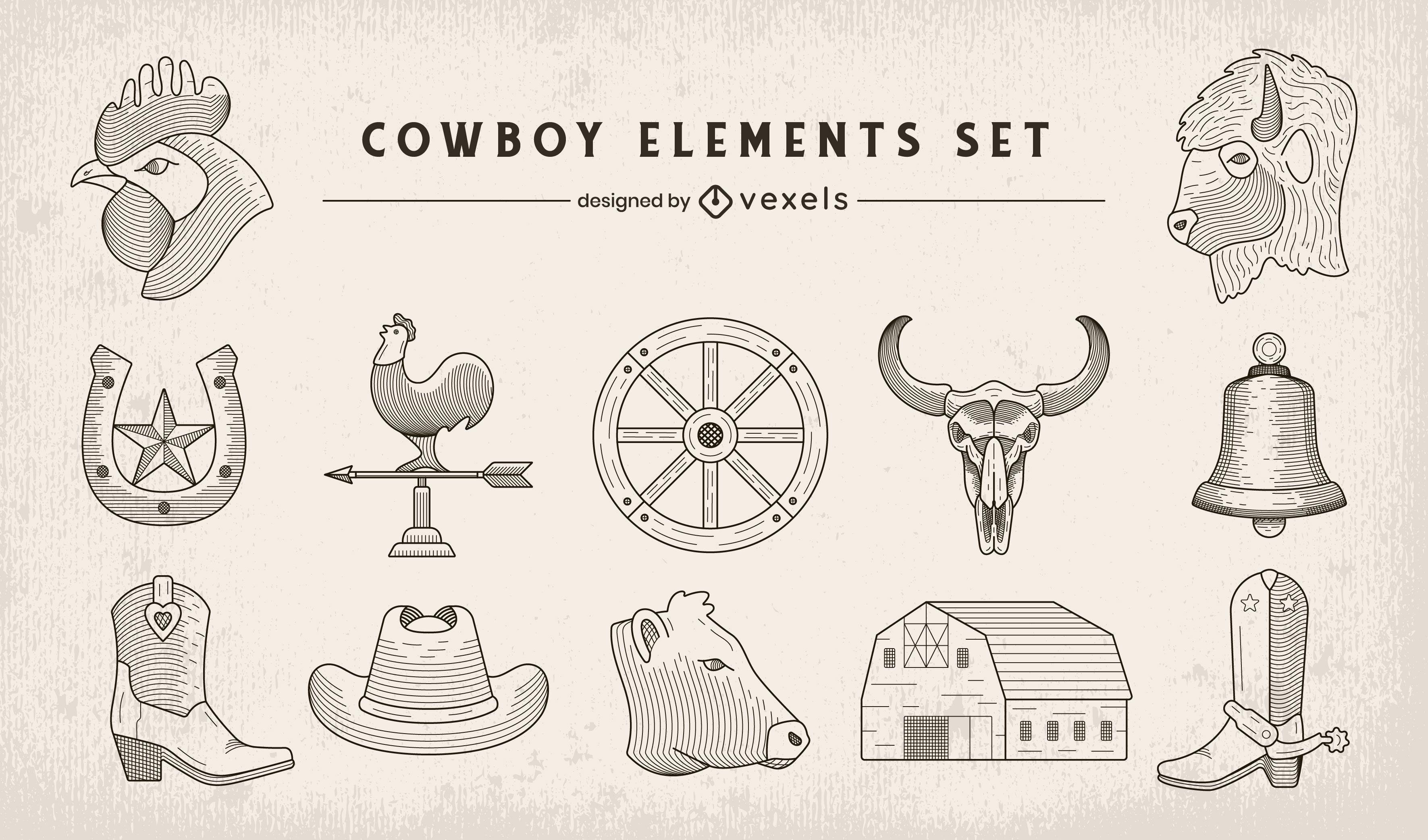 Conjunto de elementos de arte em linha de caubói