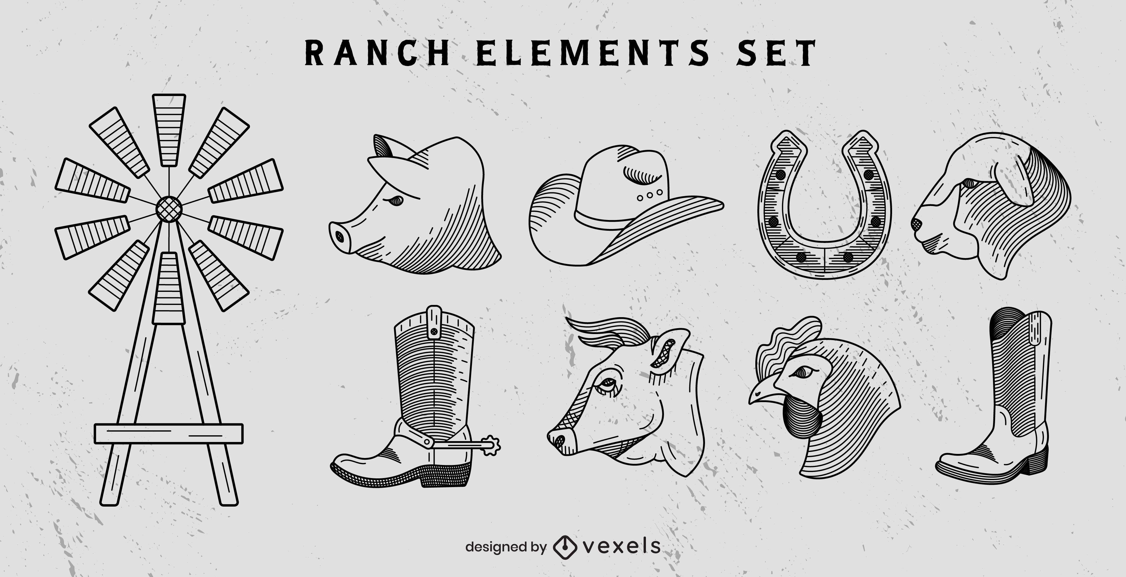 Ranch line art elements set