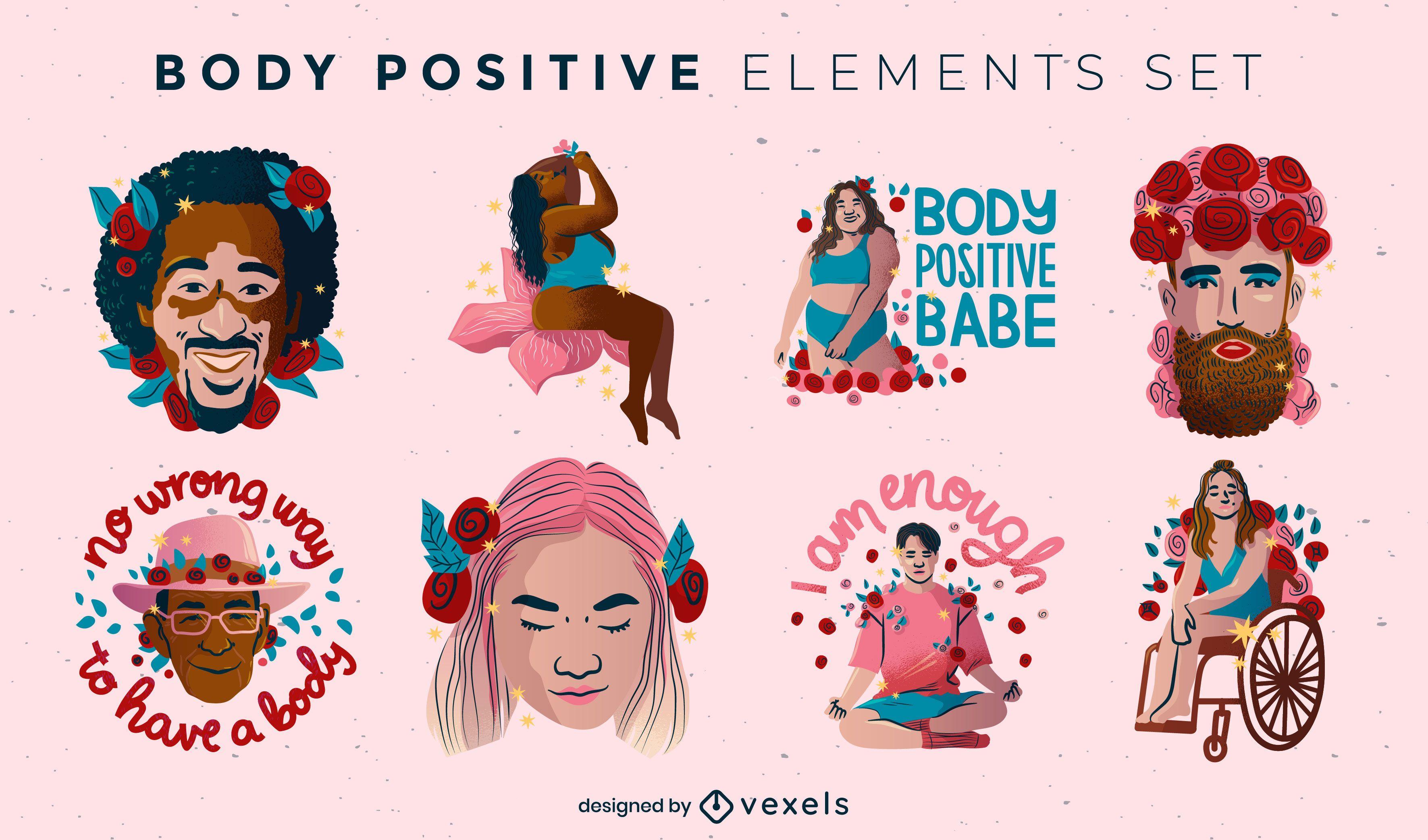 Körper positive Zitate Satz von Abzeichen